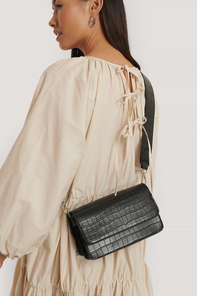 Wide Strap Slim Crossbody Bag Black