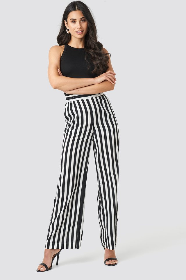 Wide Striped Pants Black/White