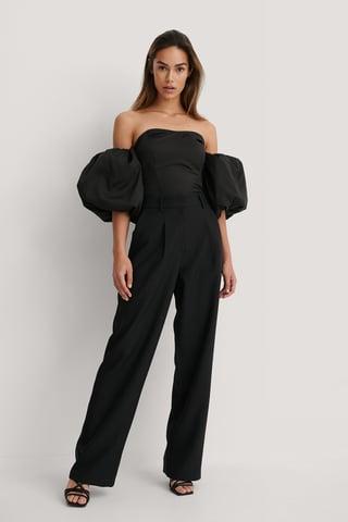 Black Pantalon Met Wijde Pijpen