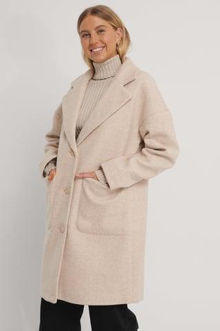 Beige Wool Blend Dropped Shoulder Coat