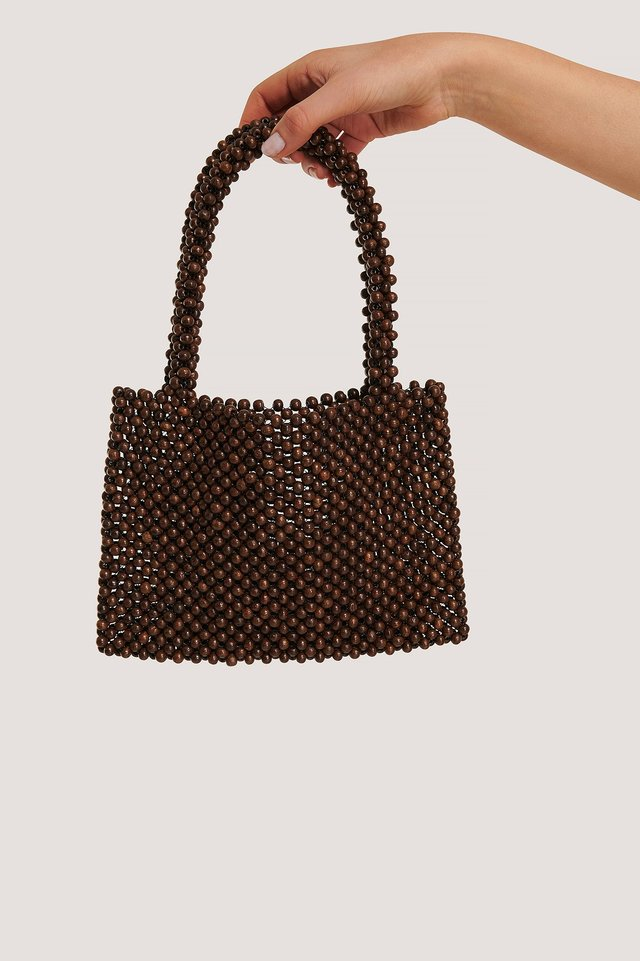 Wood Pearl Bag Brown