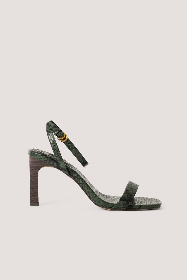 Green/Snake Print Wooden Heel Ankle Strap Sandals