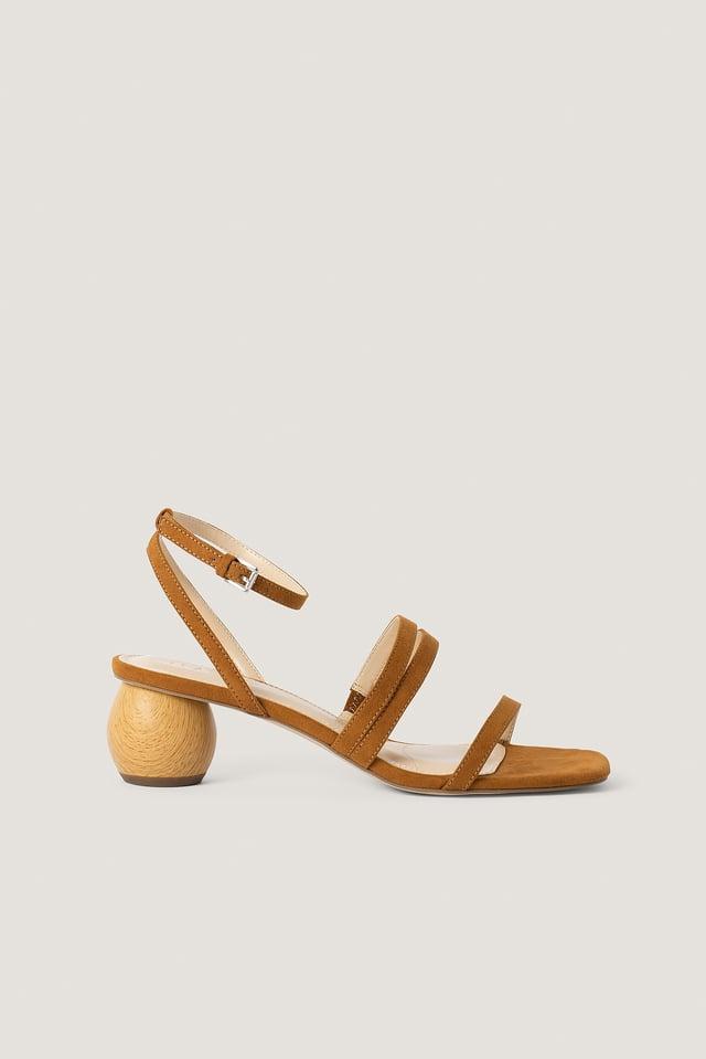 Brown Wooden Heel Sandals