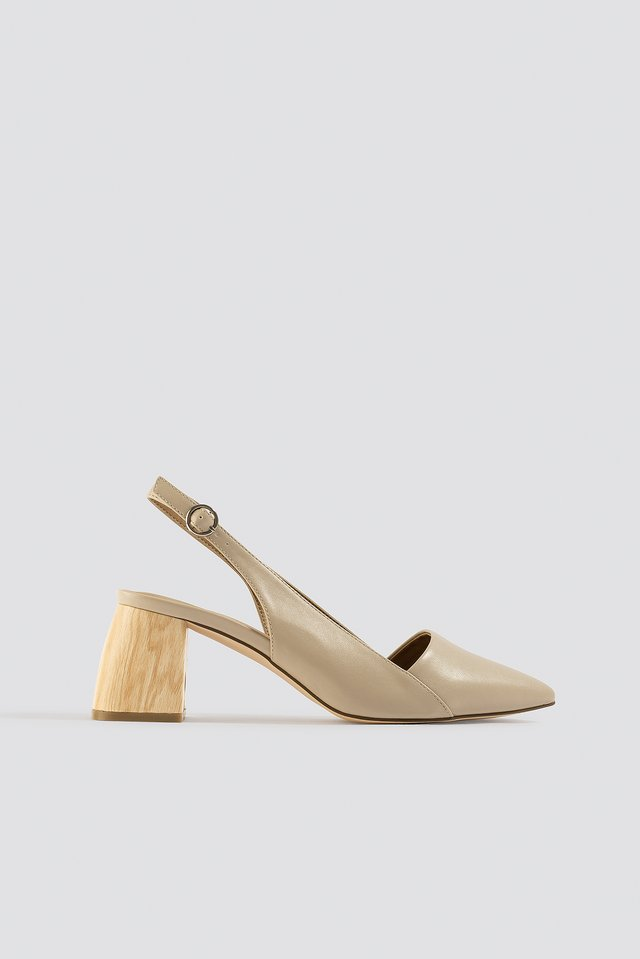 Wooden Heel Slingback Pumps NA-KD Shoes