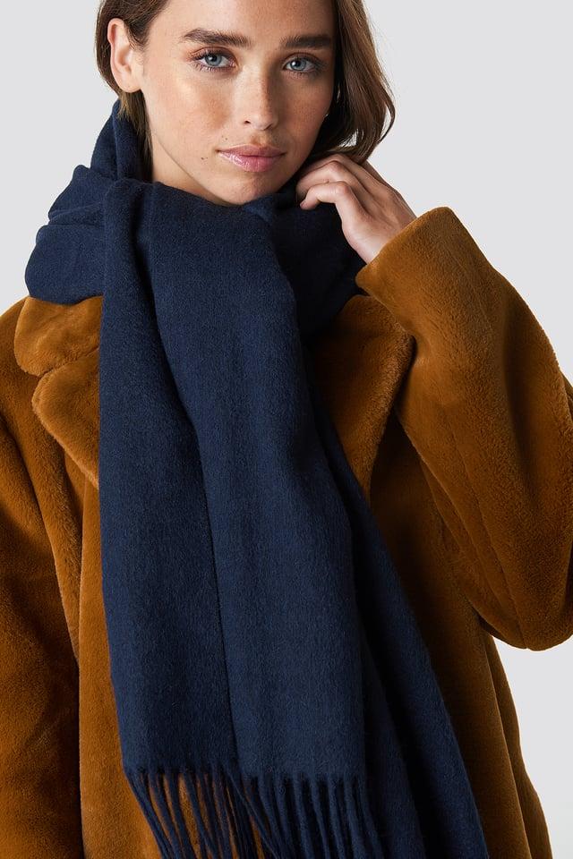Wool Blend Scarf Dark Blue