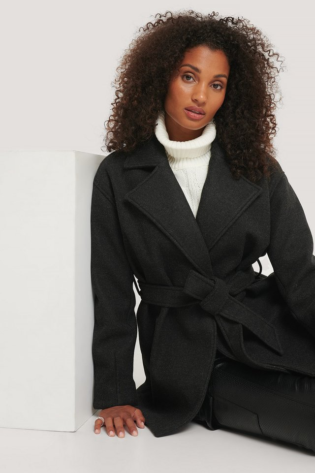 Wool Blend Belted Short Coat Black