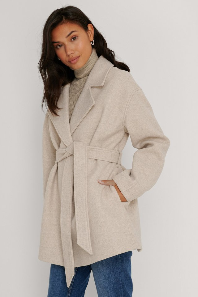 Wool Blend Belted Short Coat Beige