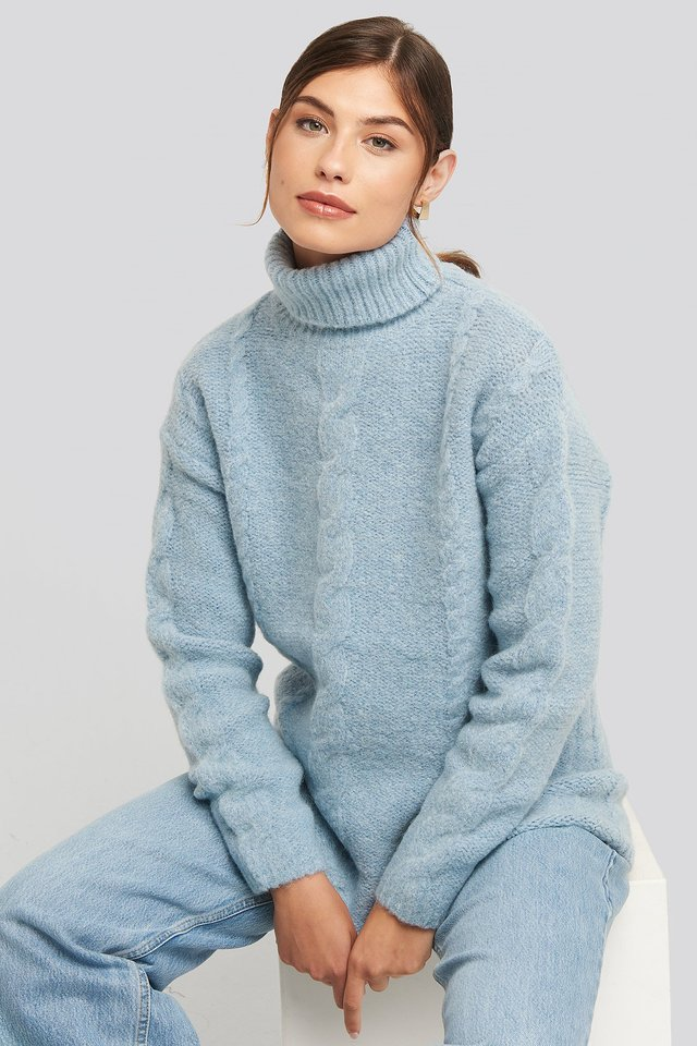 Wool Blend Cable Knitted Sweater Blue