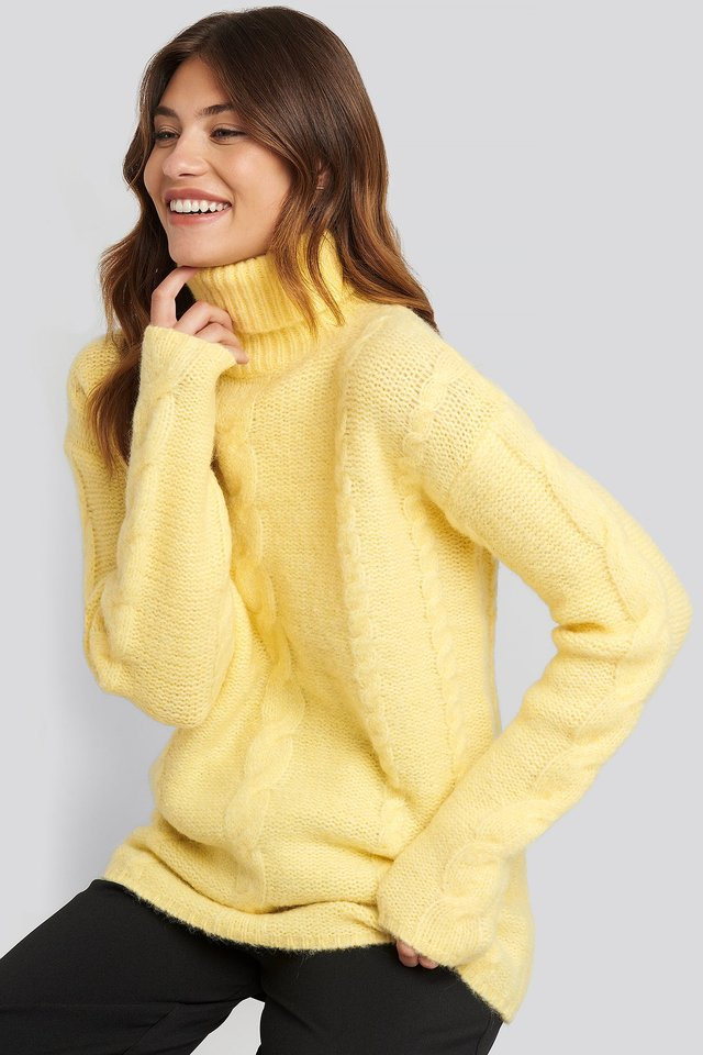 Wool Blend Cable Knitted Sweater Yellow