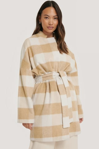 Beige Wool Blend Checked Short Coat