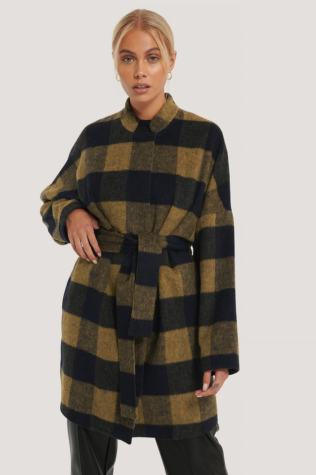 Green Wool Blend Checked Short Coat