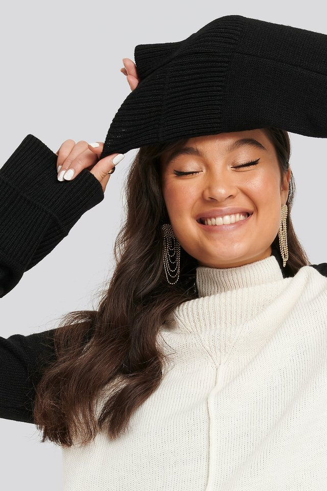 Wool Blend Colour Block Sweater Black/White