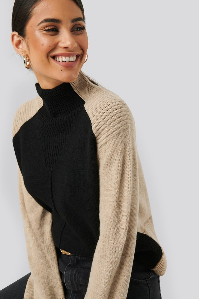 Wool Blend Colour Block Sweater Black/Beige