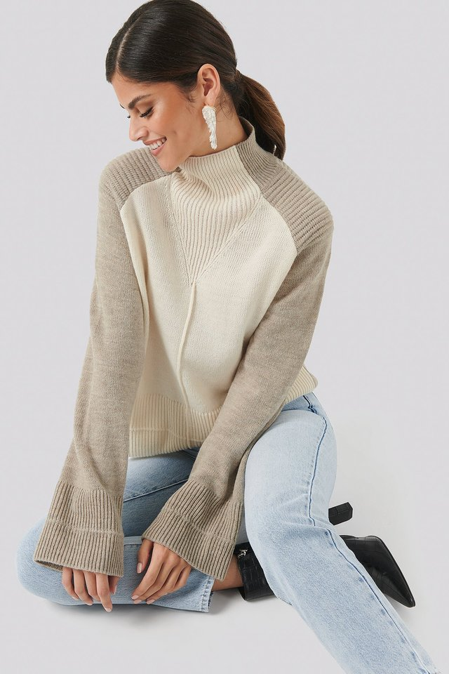 Wool Blend Colour Block Sweater Beige/White