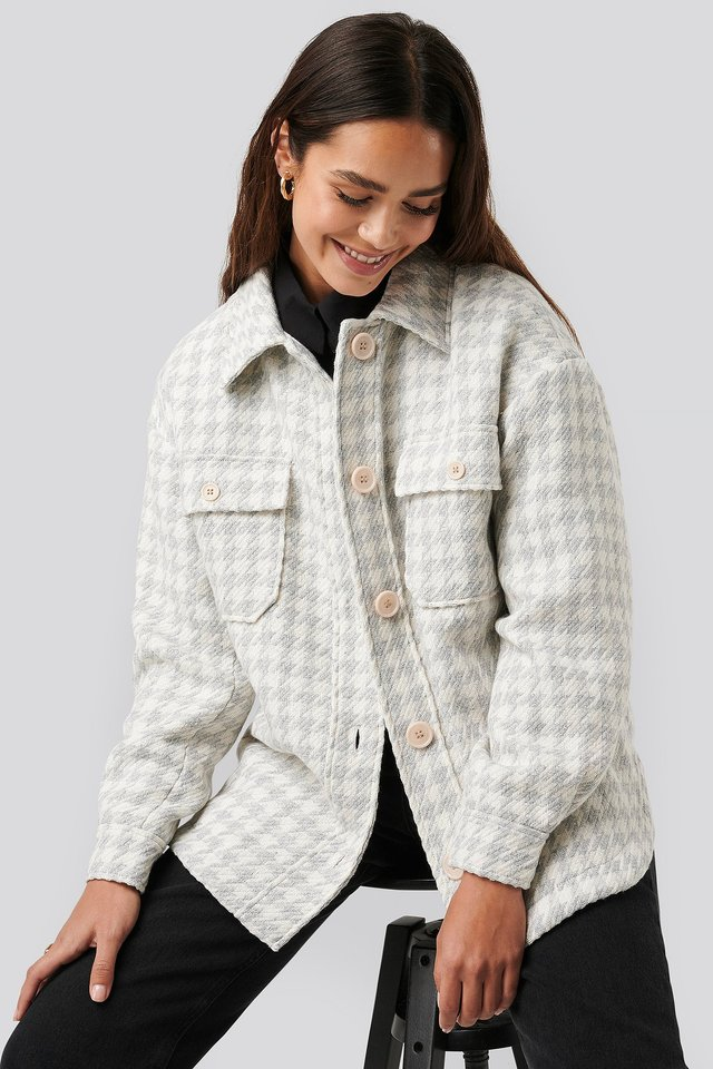 Grey/White Wool Blend Dogtooth Jacket