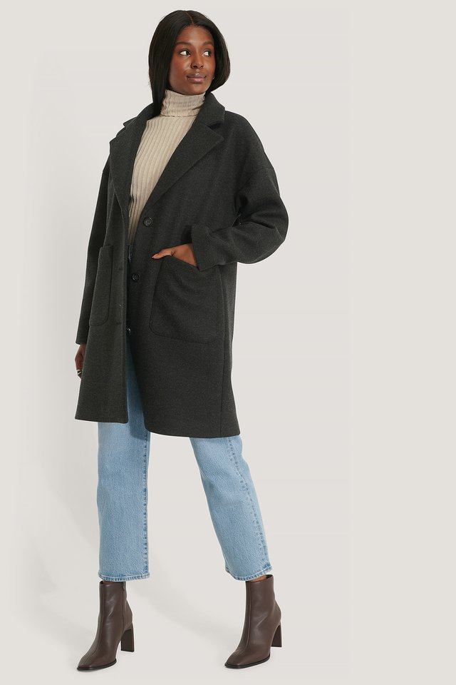 Wool Blend Dropped Shoulder Coat Black