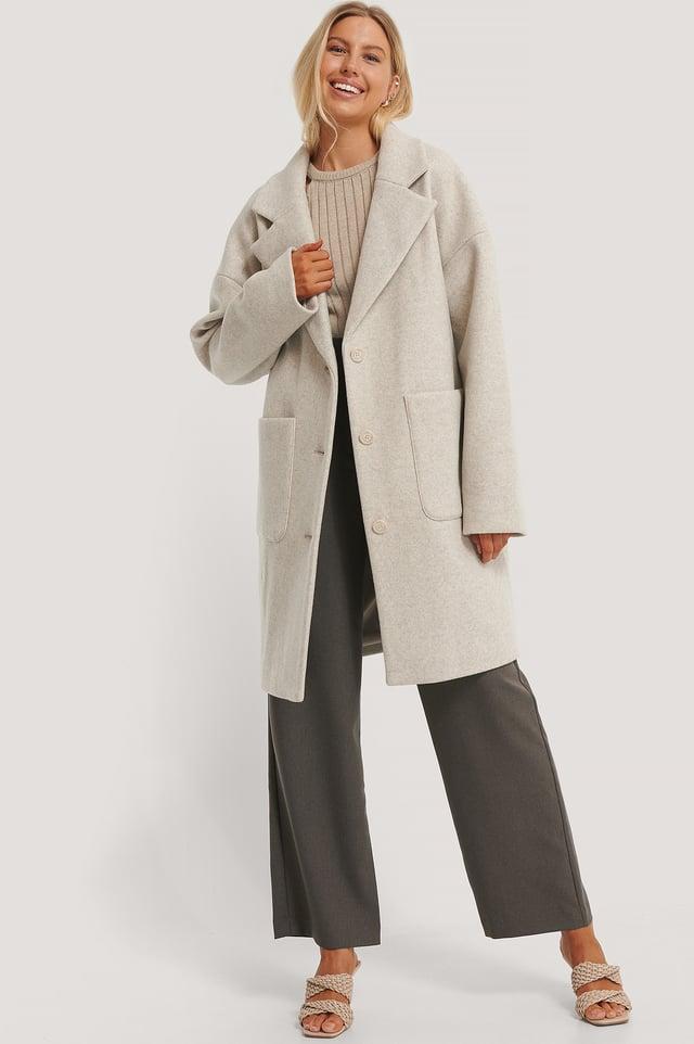 Grey Wool Blend Dropped Shoulder Coat