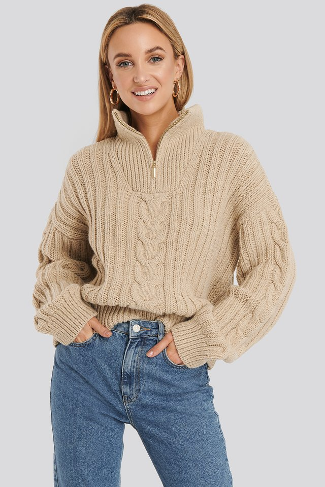 Wool Blend Half Zip Cable Sweater Beige