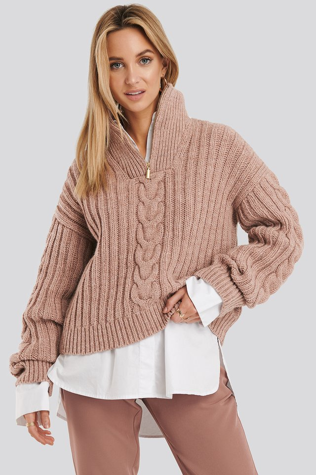 Wool Blend Half Zip Cable Sweater Pink