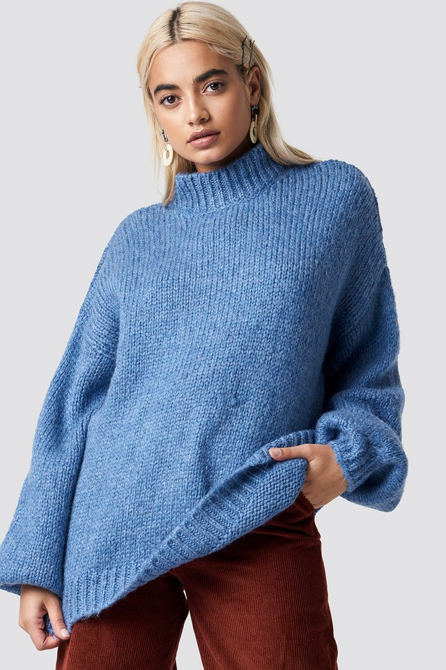 Wool Blend High Neck Knitted Sweater Blue