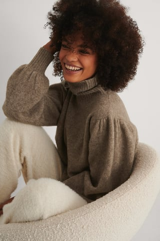 Brown Wool Blend Knitted Polo Neck Sweater
