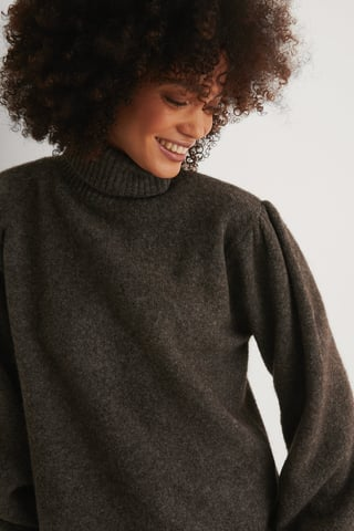 Dark Grey Wool Blend Knitted Polo Neck Sweater