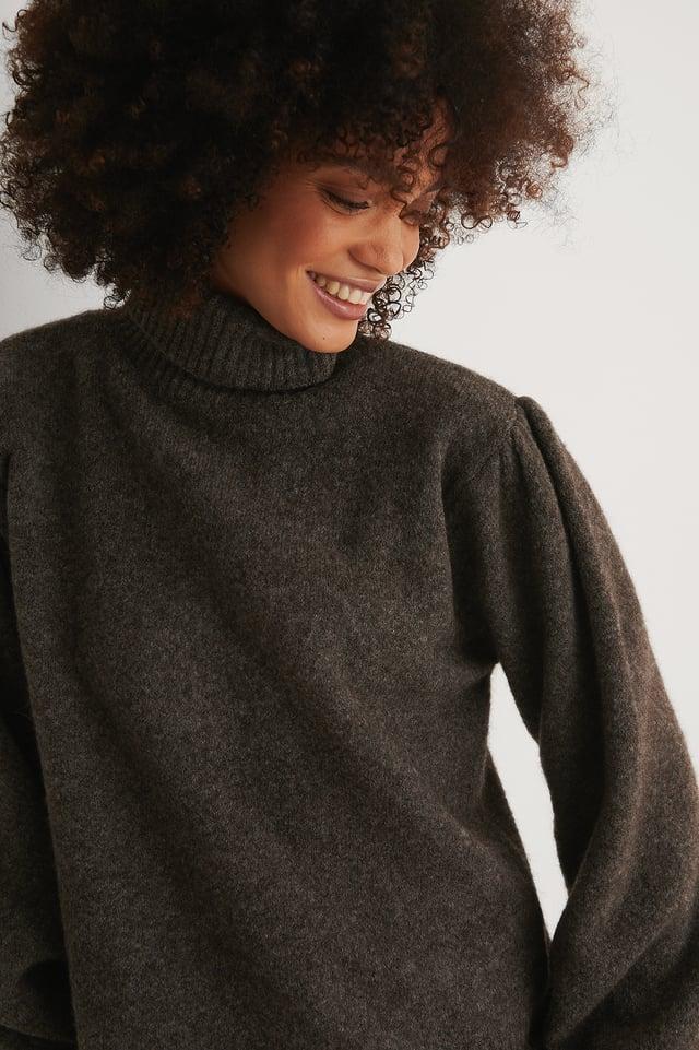 Dark Grey Karbowany Sweter Z Dzianiny Z Mieszanki Wełny