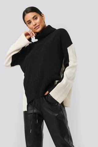 White/Black Wool Blend Oversized Colour Block Sweater