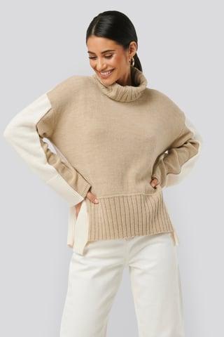 Beige/White Wool Blend Oversized Colour Block Sweater