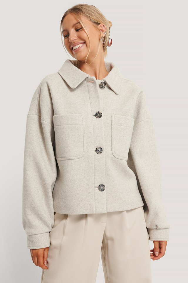 Wool Blend Oversized Short Jacket Grey