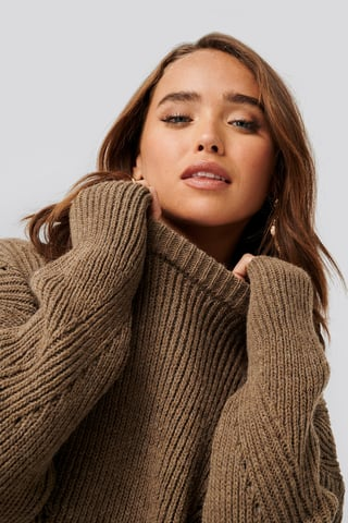 Brown Wool Blend Pointelle Stitch Sweater