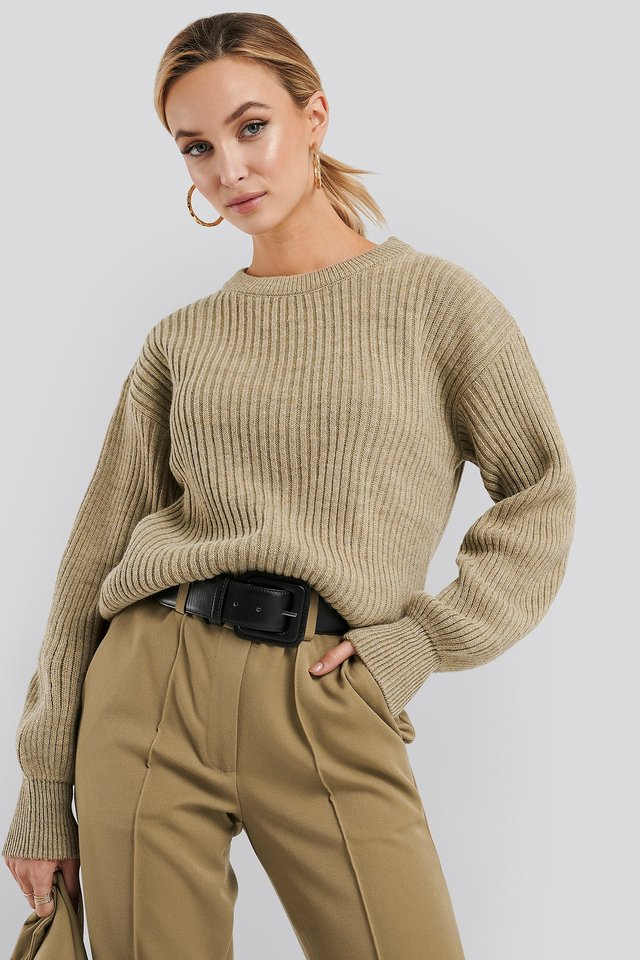 Light Beige Wool Blend Ribbed Knitted Sweater