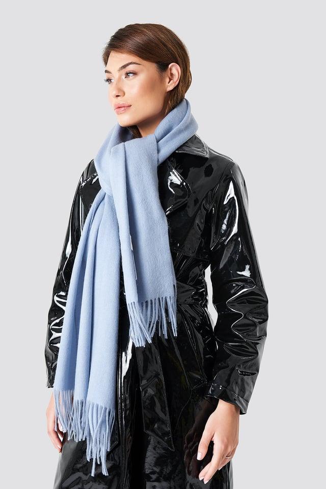 Wool Blend Scarf Light Blue