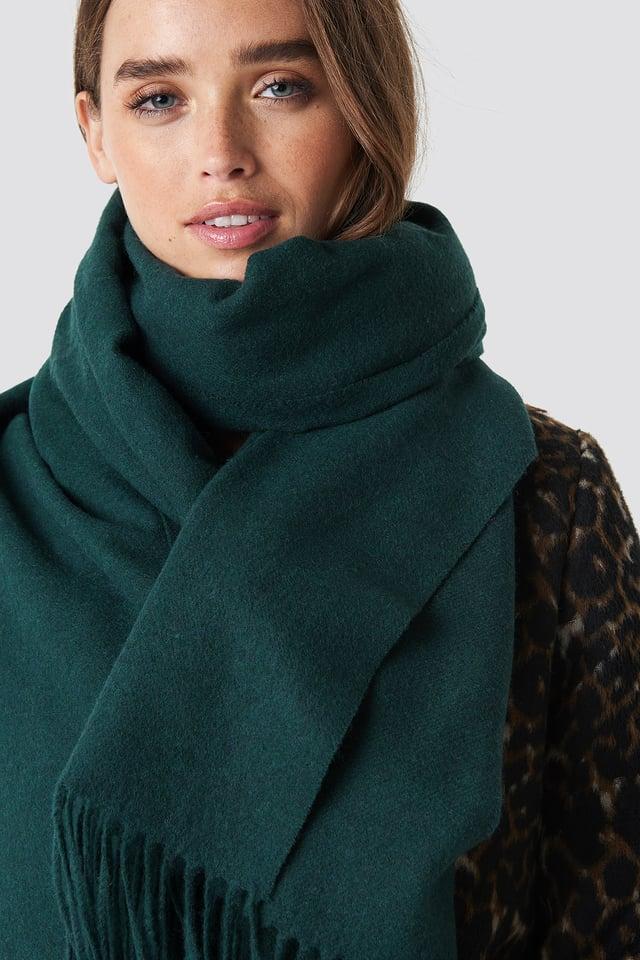 Wool Blend Scarf Dark Green