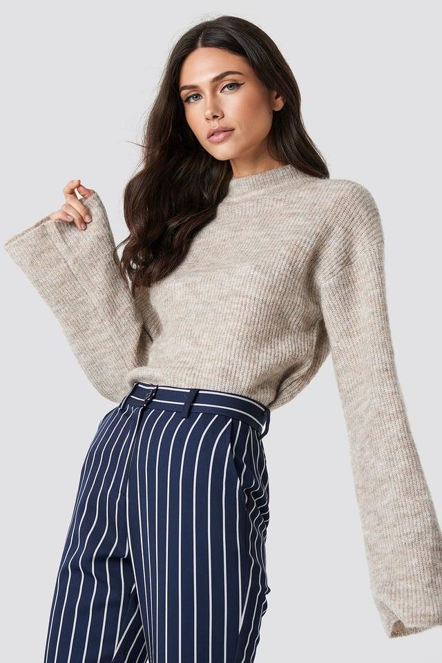 Beige Wool Blend Wide Sleeve Sweater