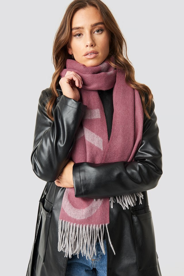 Wool Logo Scarf Dusty Pink
