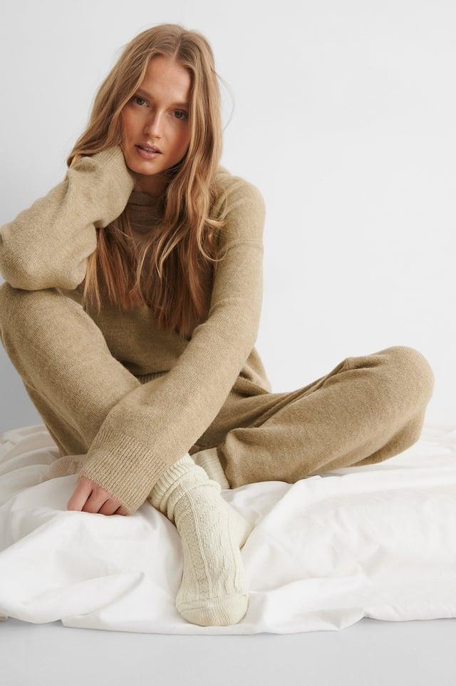 Grey/Offwhite Wool Socks 2-pack