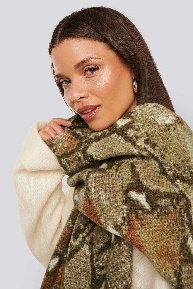 Soft Woven Snake Scarf Khaki