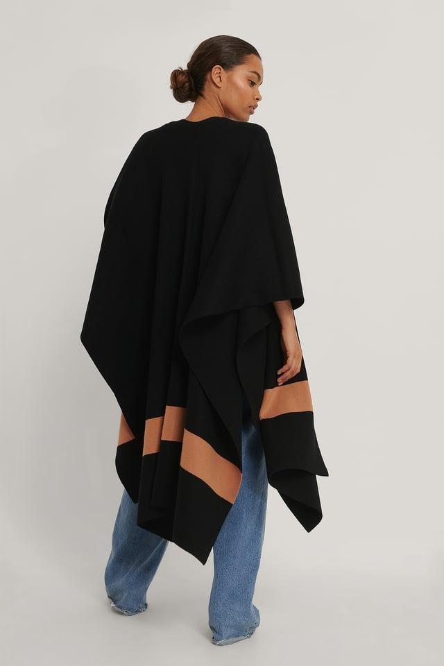 Black Woven Stripe Poncho