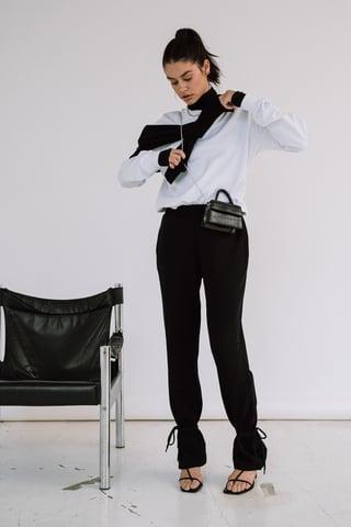 Black Ekologiczne Spodnie Dresowe O Fasonie Kopertowym