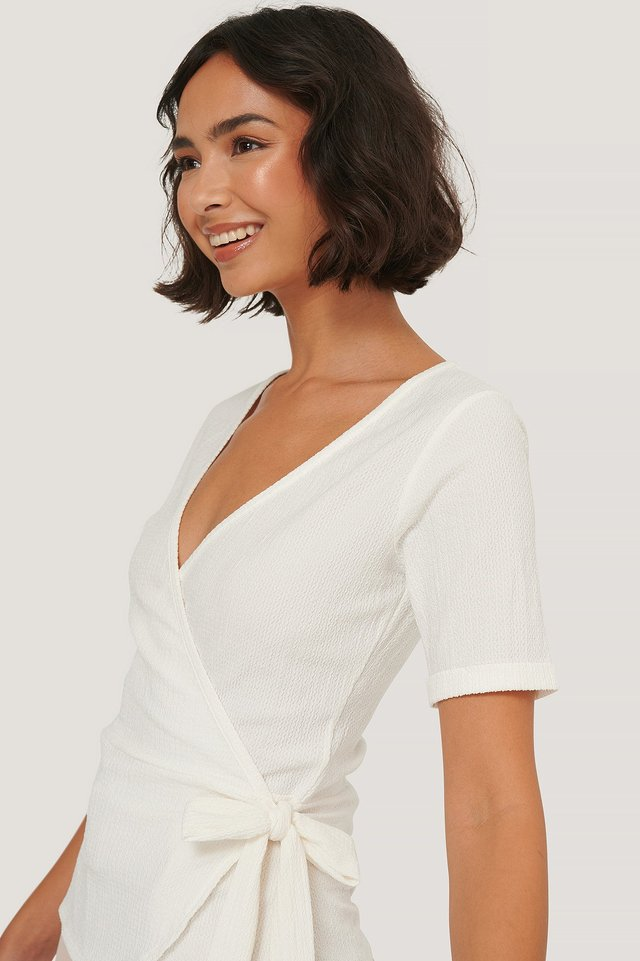 Wrap Crepe Short Sleeve Top Offwhite