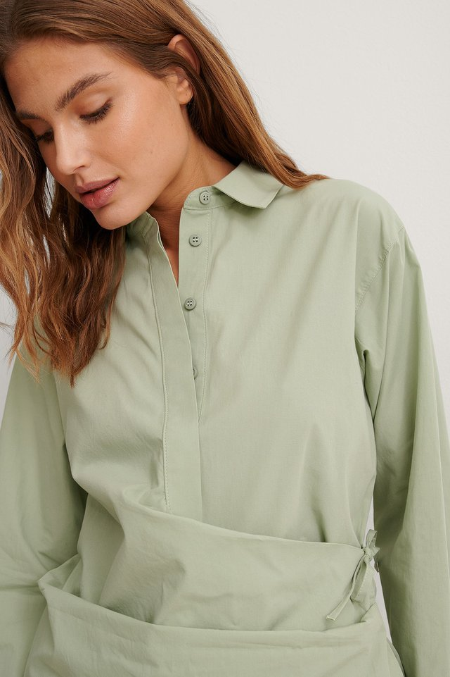 Green Organic Wrap Detail Button Up Shirt