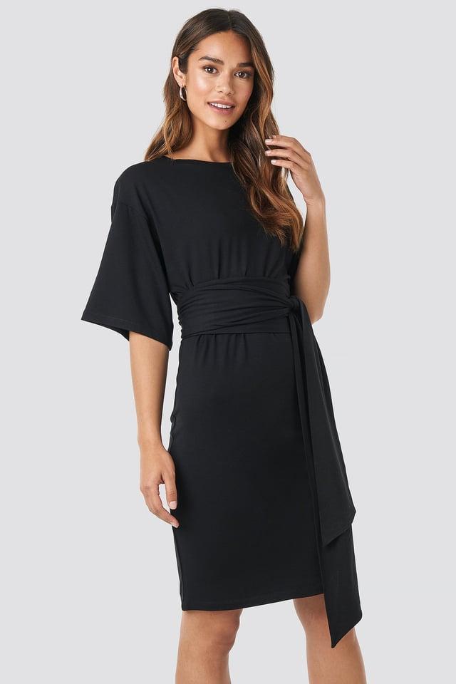 Wrap Detail Jersey Dress Deep Black