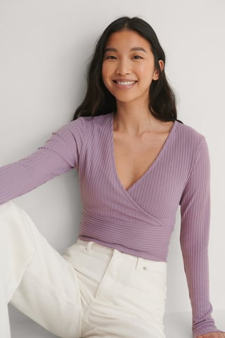 Purple Wrap Detail Ribbed Top