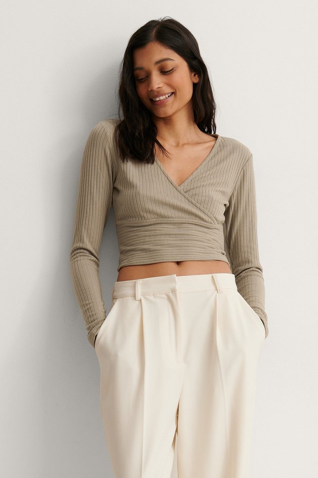 Dark Beige Wrap Detail Ribbed Top
