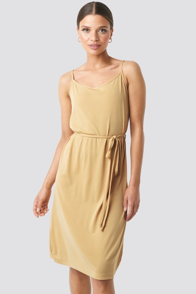 Wrap Detail Strap Dress Dusty Yellow