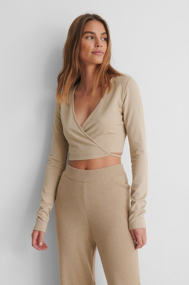 Beige Wrap Detail Top