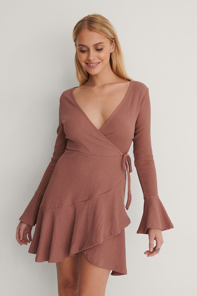 Dusty Dark Pink Wrap Flounce Detail Dress
