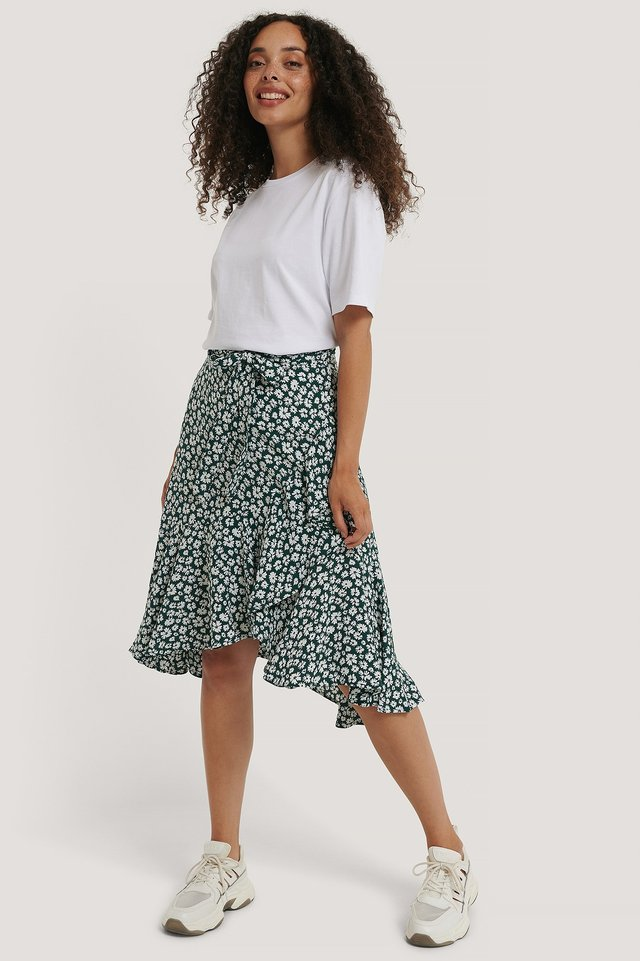 Wrap Flounce skirt Green Flower