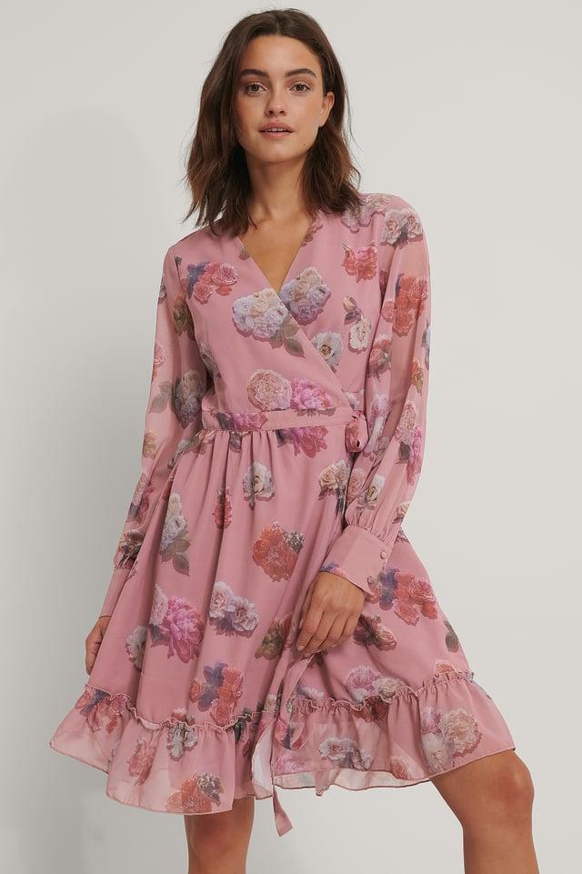 Chiffonkleid Zum Wickeln Mit Blumendruck Pink